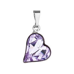 Prívesok bižutéria so Swarovski krištáľmi fialové srdce 54033.3