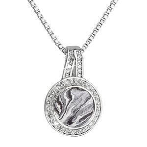 Strieborný náhrdelník guľatý čiernobiely mramor so Swarovski kryštálmi 72062.1