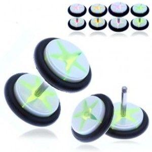Šperky eshop - Akrylový fake plug - biele kolieska s farebnou hviezdou PC34.8/11 - Farba piercing: Fialová