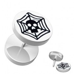 Šperky eshop - Akrylový falošný piercing do ucha - biely, lebka, pavučina PC30.23