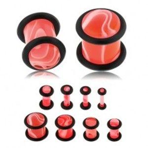 Šperky eshop - Akrylový plug do ucha ružovej farby, mramorový vzor, dve čierne gumičky S22.28 - Hrúbka: 2,5 mm