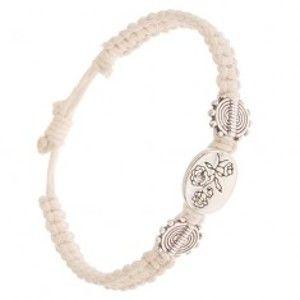 Šperky eshop - Béžový šnúrkový náramok, oválna známka s kvetmi S29.23