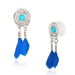 Šperky eshop - Biely akrylový plug do ucha - lapač snov s modrými pierkami AC9.2 - Hrúbka: 10 mm