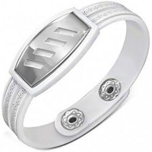Biely gumený náramok - šikmé výrezy na známke, grécky kľúč