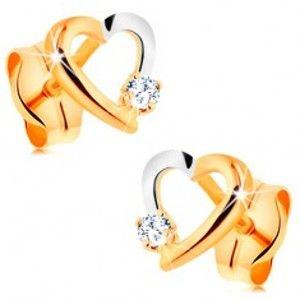 Šperky eshop - Briliantové náušnice zo 14K zlata - obrys srdiečka s drobným diamantom BT500.11