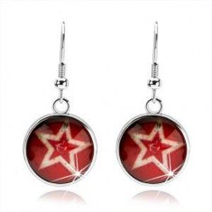 Šperky eshop - Cabochon náušnice, obrys päťcípej hviezdy, červený podklad, kosák a kladivo SP70.21