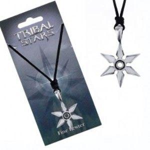 Šperky eshop - Čierna šnúrka na krk a lesklá kovová hviezdica z hrotov AC4.09