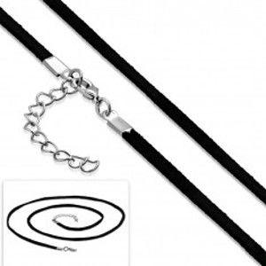 Šperky eshop - Čierna šnúrka na prívesok, nastaviteľná dĺžka, karabínka AB37.09