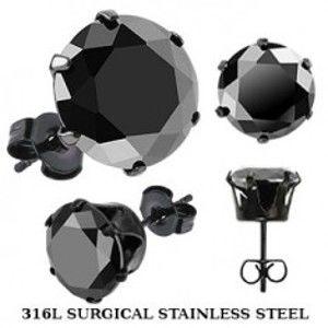 Šperky eshop - Čierne puzetové náušnice z ocele - čierny zirkón v kotlíku X45.03/X46.15 - Veľkosť zirkónu: 4 mm, Farba: Čierna