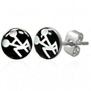 Šperky eshop - Čierno - biele náušnice z ocele sexuálny motív G22.01