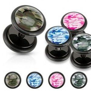 Šperky eshop - Čierny akrylový fake plug, maskáčový vzor, čierne gumičky W11.20/21 - Farba: Modrá
