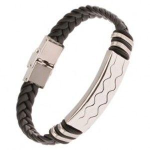 Šperky eshop - Čierny gumený náramok - vrkočový remienok, známka s vlnkami Y01.05