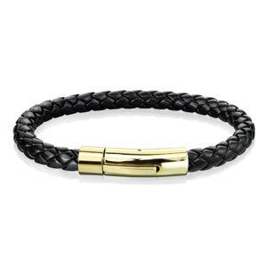 Čierny kožený náramok s prepleteným vzorom - oceľové zapínanie v zlatom odtieni - Dĺžka: 200 mm
