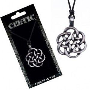 Šperky eshop - Čierny náhrdelník - obrys keltského uzla, šnúrka Y51.18
