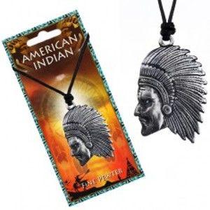 Šperky eshop - Čierny náhrdelník - šnúrka a lesklý kovový prívesok Indiána P3.3