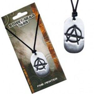Šperky eshop - Čierny náhrdelník, lesklá kovová známka, symbol anarchie S4.13