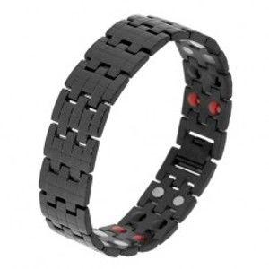 Šperky eshop - Čierny náramok z ocele, štruktúrovaný povrch, magnety SP28.18