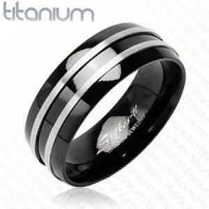 Šperky eshop - Čierny prsteň z titánu - dva  tenké pásy striebornej farby J1.9 - Veľkosť: 52 mm
