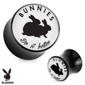 "Šperky eshop - Čierny sedlový plug do ucha z akrylu "" Bunnies do it better"" S68.06/14 - Hrúbka: 8 mm"