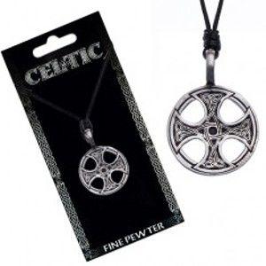 Šperky eshop - Čierny šnúrkový náhrdelník – kovový prívesok, keltský kríž Y51.15