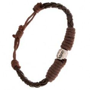 Šperky eshop - Čokoládovohnedý pletený náramok ovinutý šnúrkou, ozdobný valček S28.20