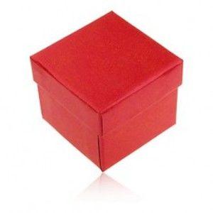 Šperky eshop - Darčeková krabička na prsteň a náušnice, červená farba s perleťovým leskom Y29.8