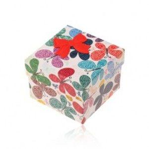 Šperky eshop - Darčeková krabička na prsteň alebo náušnice, farebné motýle s ornamentami Y07.05