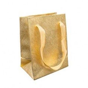 Šperky eshop - Darčeková taštička, lesklý mriežkovaný povrch zlatej farby, stužky GY56