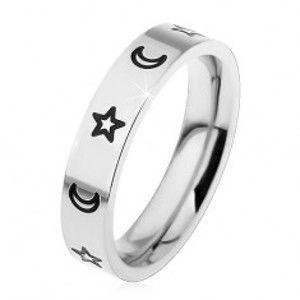 Šperky eshop - Detský prsteň z chirurgickej ocele, gravírované kontúry hviezd a mesiacov H4.05 - Veľkosť: 46 mm