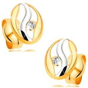 Šperky eshop - Diamantové náušnice v 14K zlate - obrys oválu s vlnkou z bieleho zlata, briliant BT177.19