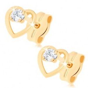 Šperky eshop - Diamantové náušnice zo žltého 14K zlata - číry briliant v kontúre srdiečka BT500.97