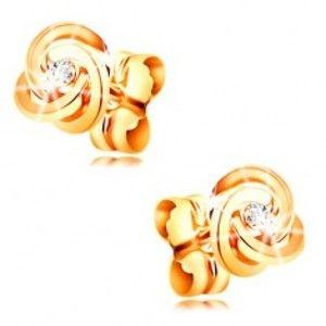 Šperky eshop - Diamantové náušnice zo žltého zlata 585 - uzol z troch prstencov, číry briliant BT502.28