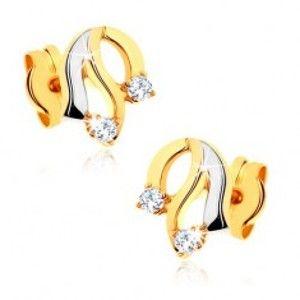 Šperky eshop - Diamantové zlaté náušnice 585 - lesklé zvlnené línie, trblietavé číre brilianty BT501.40