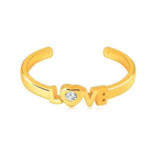 """Diamantový prsteň zo žltého 14K zlata s otvorenými ramenami - nápis """"LOVE"""", briliant - Veľkosť: 58 mm"""