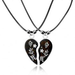 Šperky eshop - Dva náhrdelníky pre zaľúbených s čínskymi znakmi, rozdelené srdiečko AA42.28