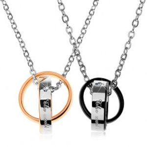 Šperky eshop - Dva oceľové náhrdelníky, dvojfarebné prepojené obrúčky, nápisy, zirkóny Z28.19