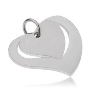 Šperky eshop - Dvojdielny oceľový prívesok, lesklá kontúra srdca a matné srdce S52.24