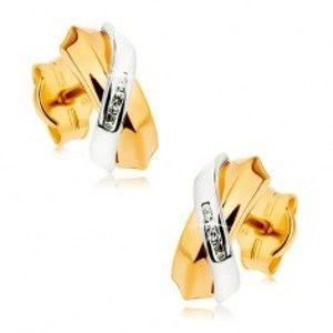 Šperky eshop - Dvojfarebné náušnice z 9K zlata - prelínajúce sa oblúky, pás drobných zirkónov GG42.01