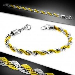 Šperky eshop - Dvojfarebný náramok z ocele 316L, retiazka so vzorom točeného lana AA24.18