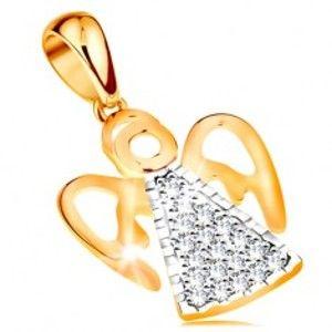 Šperky eshop - Dvojfarebný prívesok zo 14K zlata - anjel s vyrezávanými krídlami, číre zirkóniky GG195.11