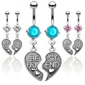 Šperky eshop - Dvojitý piercing do pupku - prepolené srdce BEST FRIEND N21.13 - Farba piercing: Aqua