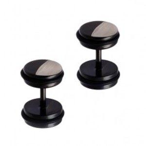Šperky eshop - Falošný oceľový piercing do ucha - okrúhly, čierno-strieborná farba AC8.19