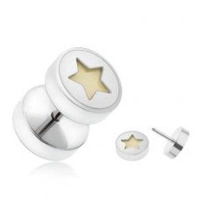 Šperky eshop - Falošný piercing do ucha z ocele, päťcípa hviezda žiariaca v tme I16.04