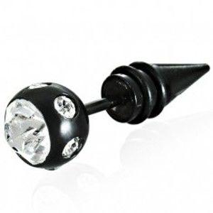 Šperky eshop - Falošný piercing veľká čierna guľa so zirkónom E12.15