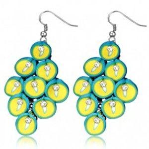 Šperky eshop - FIMO náušnice - visiaci strapec tyrkysovo-žltých kvetov kaly Y56.8