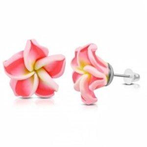 Šperky eshop - FIMO náušnice, kvietok so žltým stredom a neónovo ružovými lupeňmi AA10.25