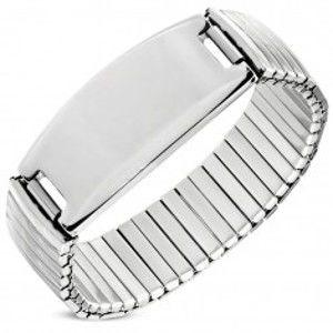 Šperky eshop - Flexibilný náramok z ocele striebornej farby, ozdobne ryhované články, známka S66.08