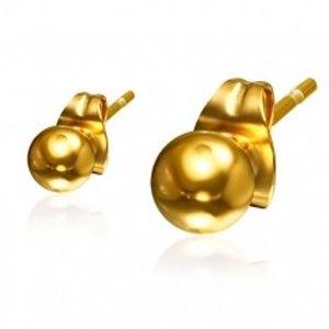 Šperky eshop - Guličkové oceľové náušnice zlatej farby, 4 mm S30.05