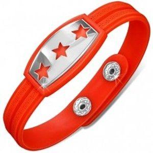 Šperky eshop - Gumený náramok červenooranžový, známka s hviezdami AA35.15