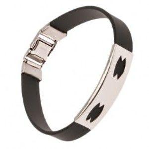 Šperky eshop - Gumený náramok čiernej farby, známka so zdvojenými elipsami P10.13